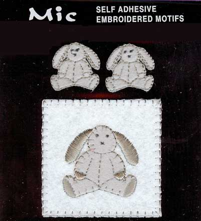 3 Self Adhesive Embroidered Bunny Motifs