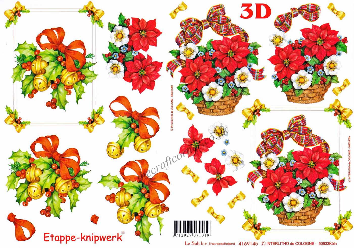 Préférence Christmas Flower Bouquets and Ribbon Designs 3d Decoupage Sheet IG85