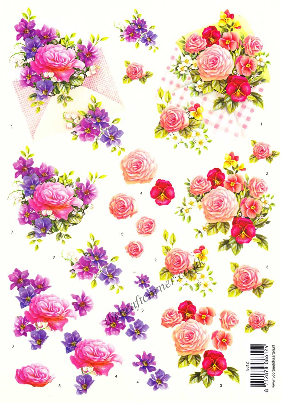 Bouquets Of Rose Amp Pansy Flowers 3d Decoupage Sheet