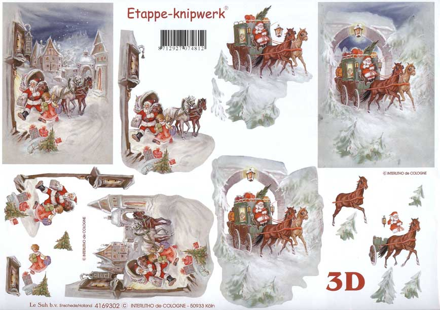 Préférence Christmas Deliveries 3d Decoupage Sheet from Le Suh VK77