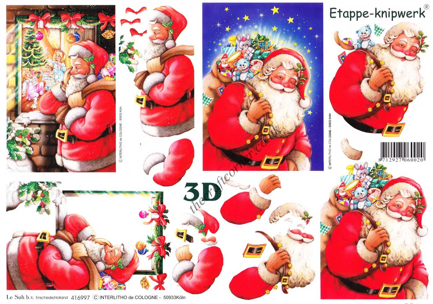 Préférence Christmas Eve Santa 3d Decoupage Craft Sheet by Le Suh IG85