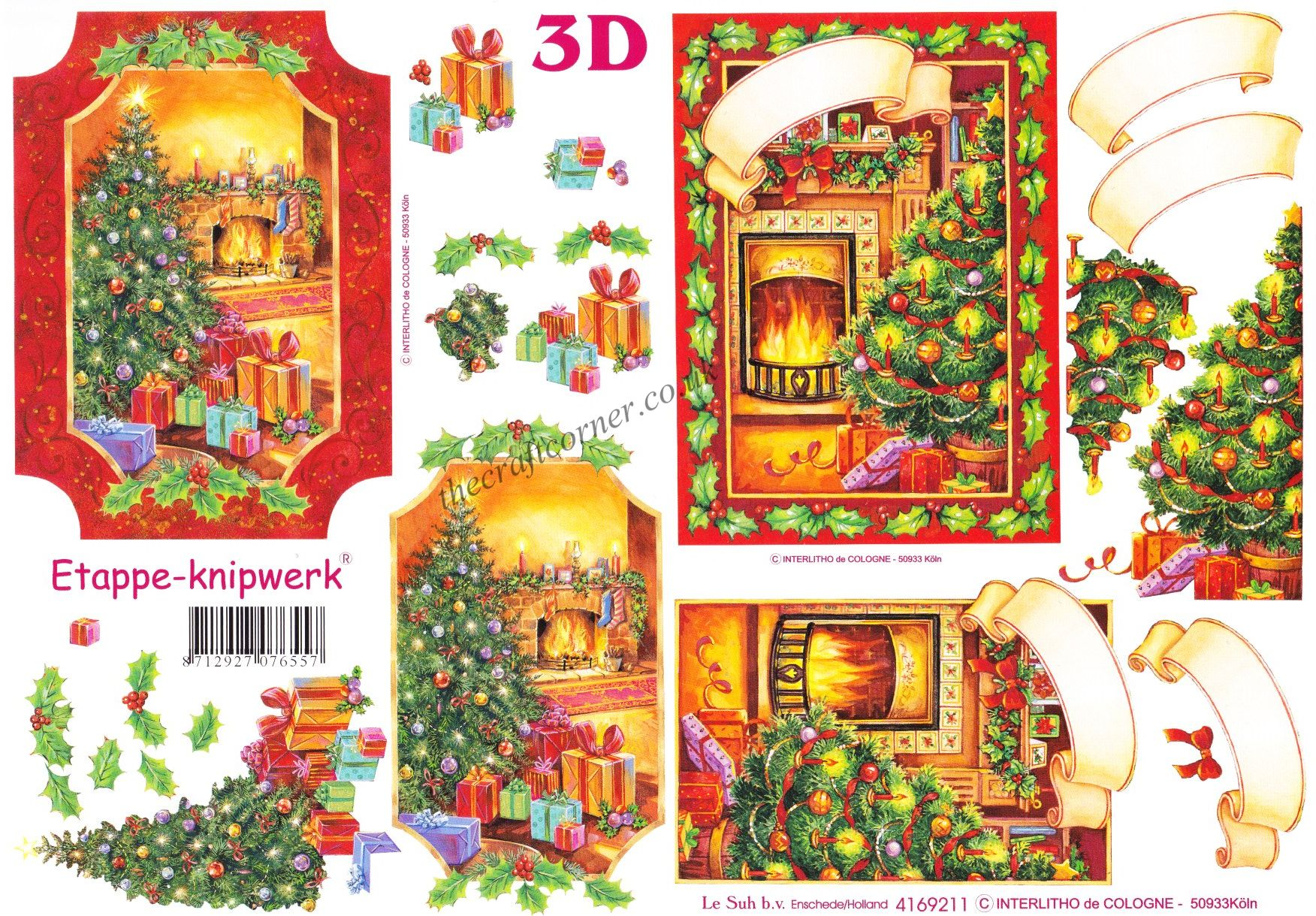 Assez Christmas Fireside Trees Designs 3d Decoupage Sheet QB47