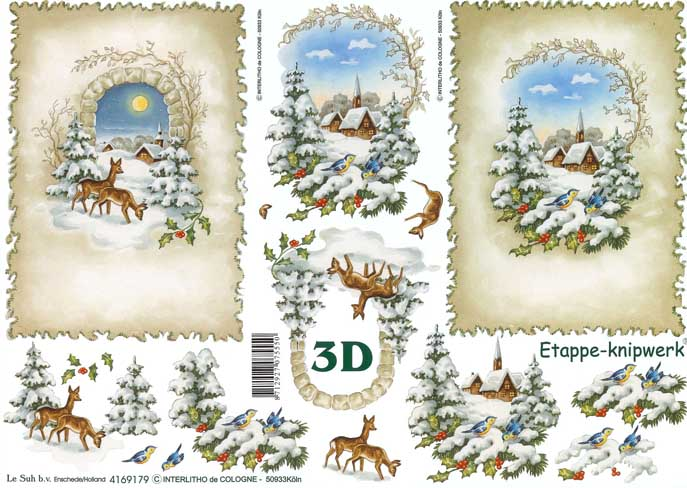 Favori Christmas Scene Designs 3d Decoupage Sheet from Le Suh NP15