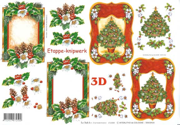 Christmas Tree And Frame 3d Decoupage Sheet