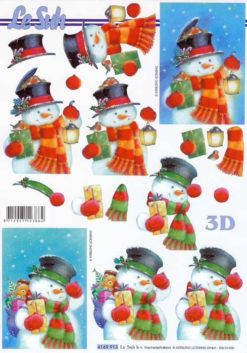 Cute Christmas Snowman Designs 3d Decoupage Sheet