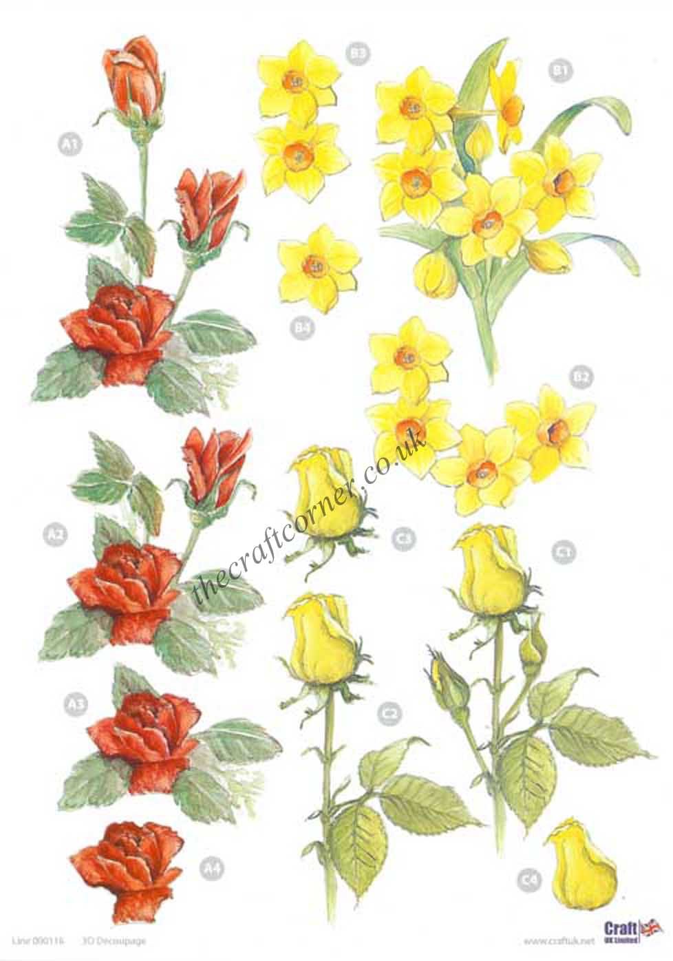 Daffodil Rose Flowers Die Cut 3d Decoupage Sheet 87 P on Shapes Rubber Stamp