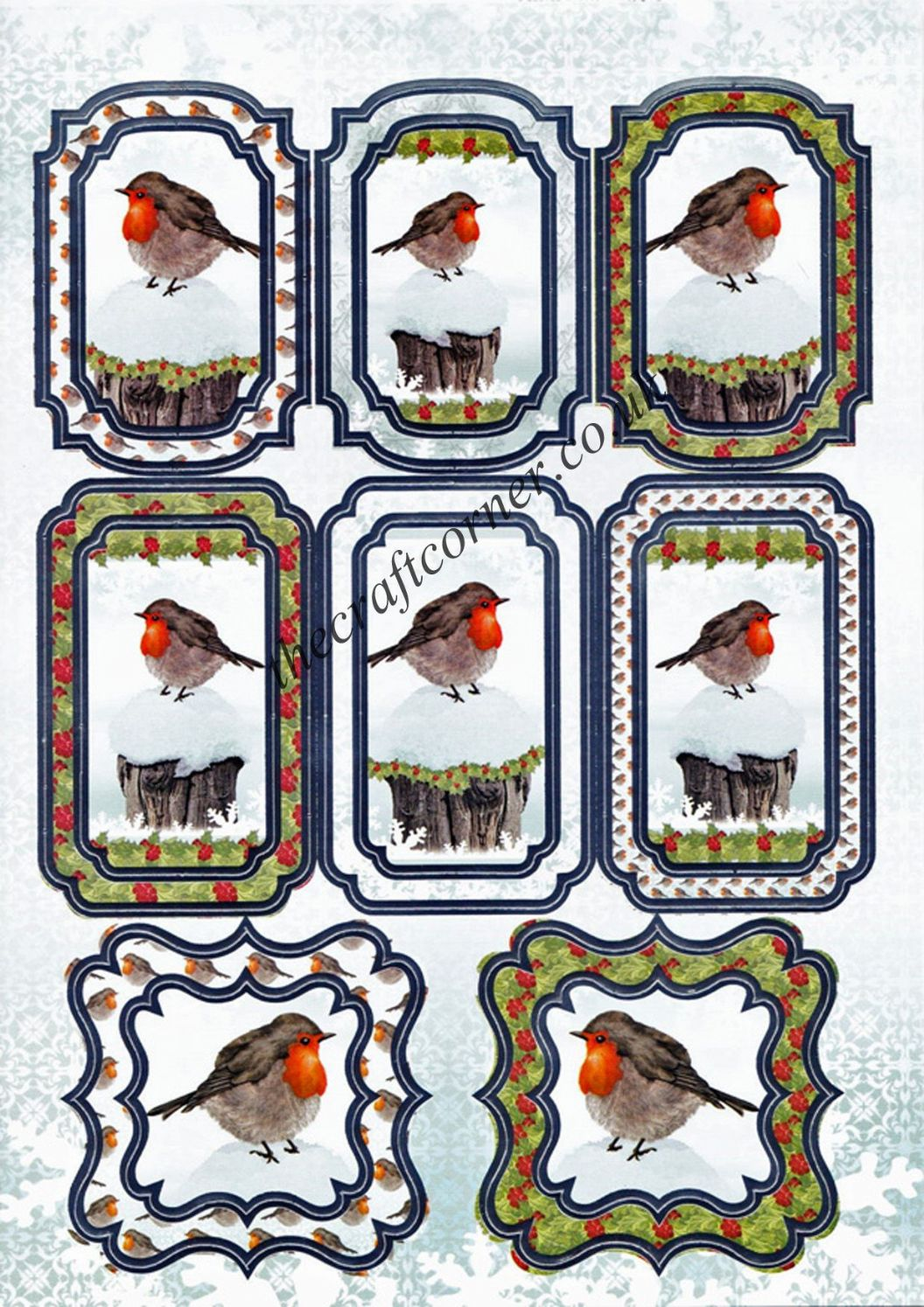 Die Cut Foil Christmas Robin Toppers And Backing Card From
