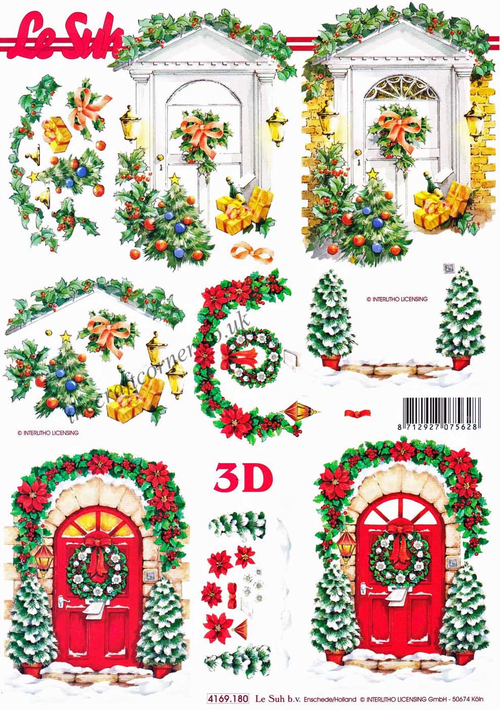 Doors decorated for christmas designs 3d decoupage sheet for 3d christmas decoration