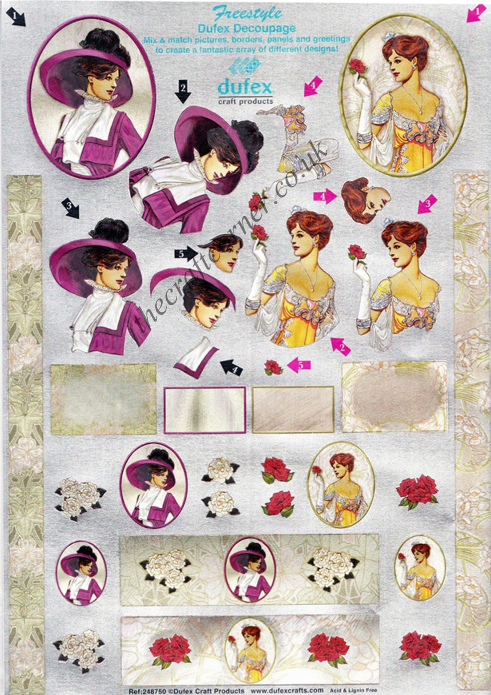 Edwardian Ladies Freestyle 3d Die Cut Decoupage Sheet From