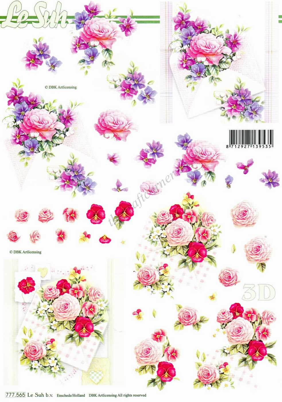 envelopes with purple  u0026 pink roses 3d decoupage sheet from
