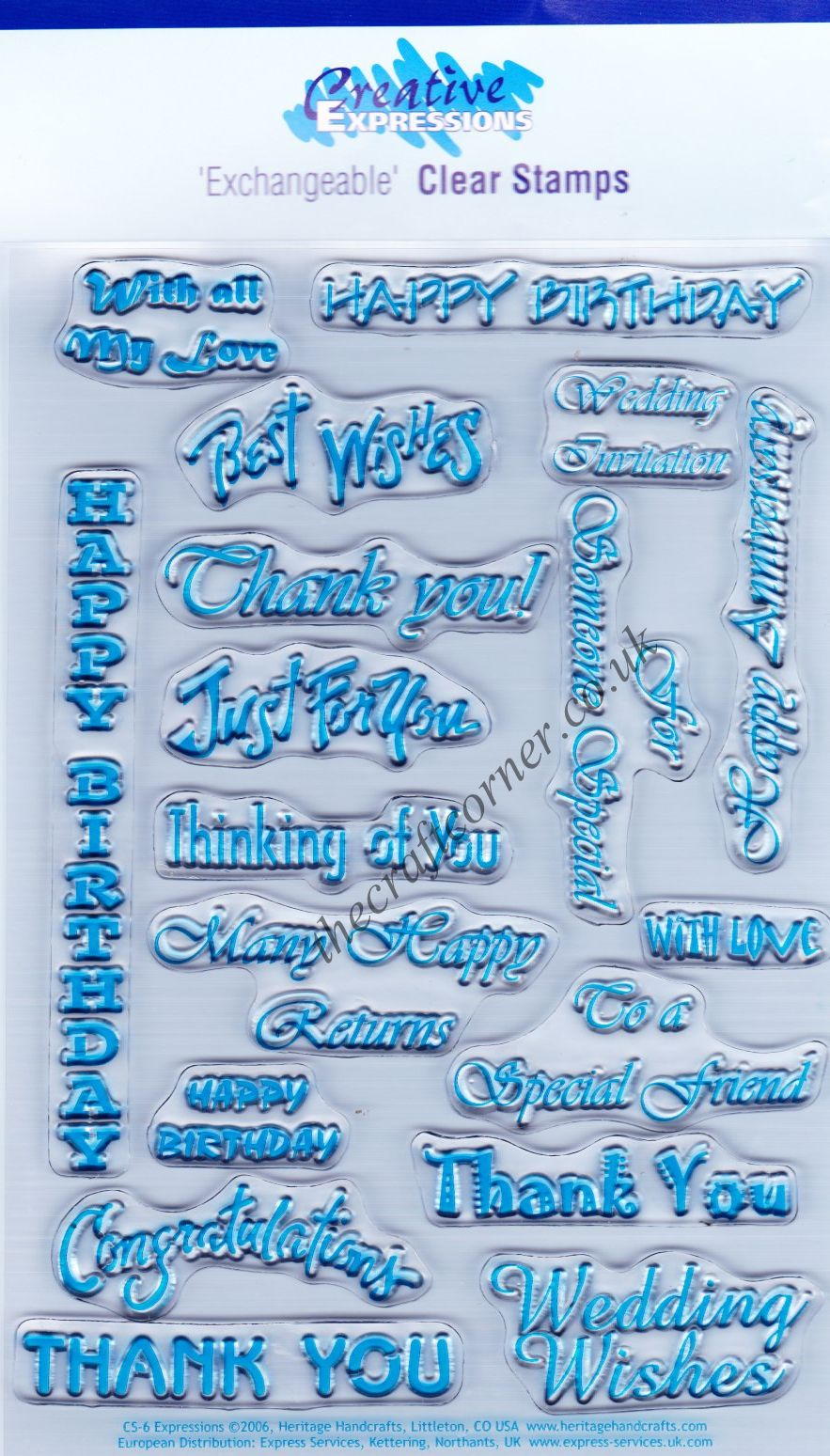 Expressions 18 Different Greetings Clear Unmounted Rubber