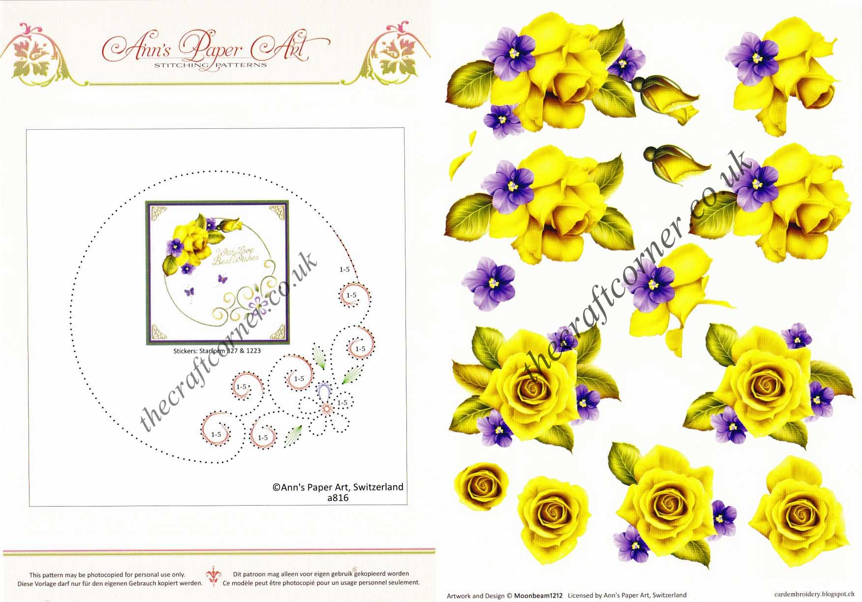 Flower Border Embroidery On Paper with Yellow Rose Flowers 3d ...