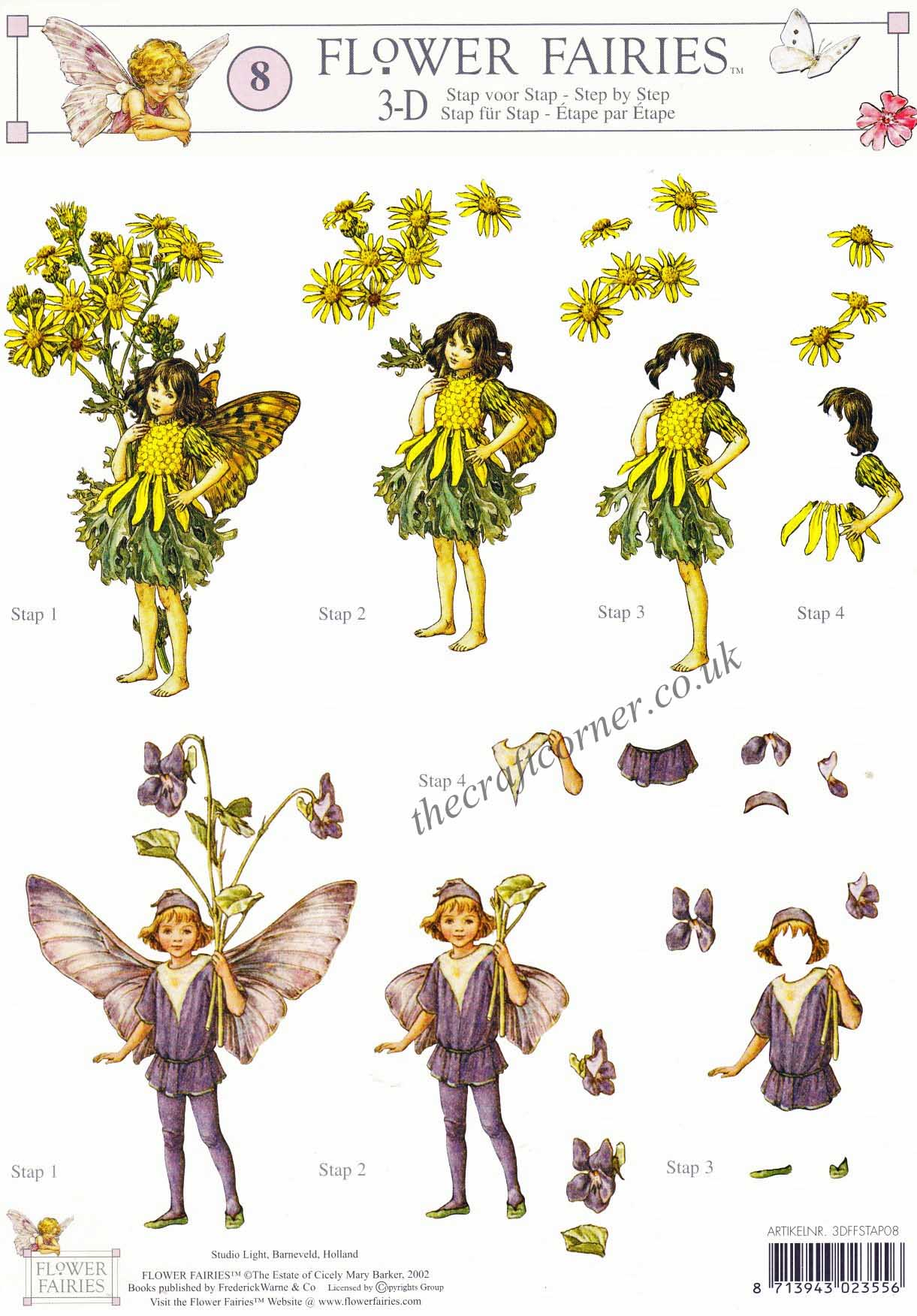Flower Fairy 8 Ragwort Amp Violet Flower Fairy By Cicely Mary Barker 3d Decoupage Sheet
