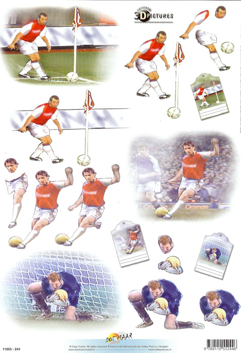 Football 5 3d Decoupage Craft Sheet