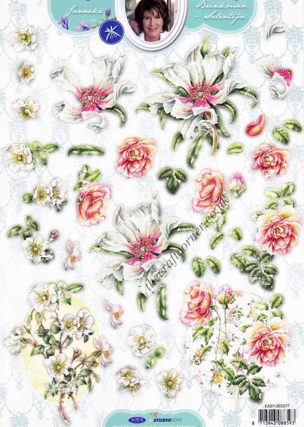 Honeysuckle Amp Rose Flower Die Cut 3d Decoupage Sheet
