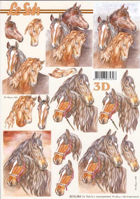 Horses 4 3d Decoupage Sheet From Le Suh