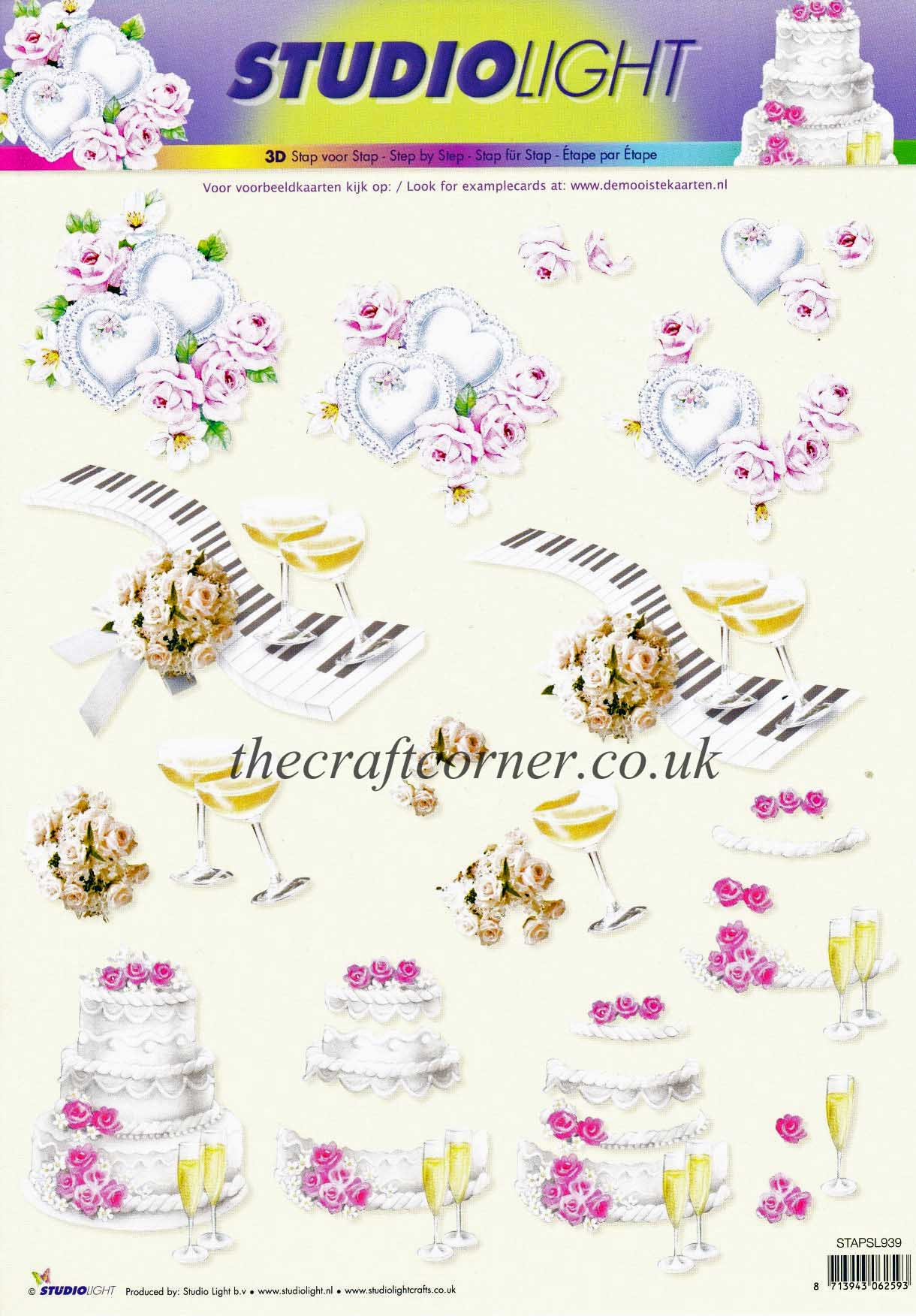 Love Hearts Champagne Flutes And Wedding Cake Designs 3d