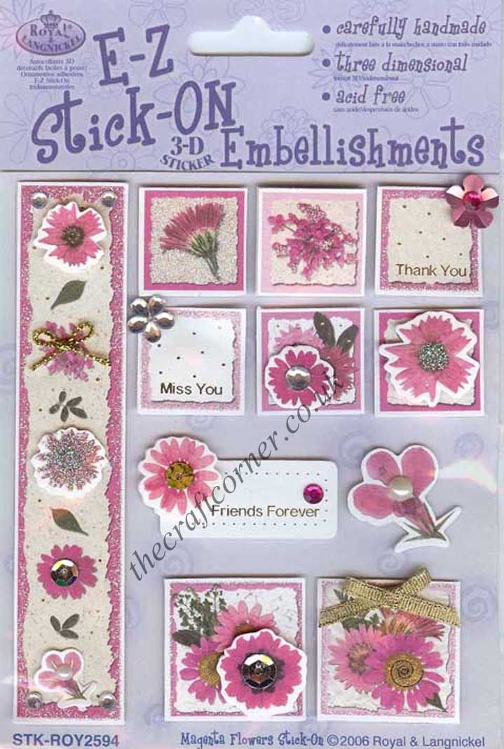 Magenta 3d Flowers Card Making Embellishments