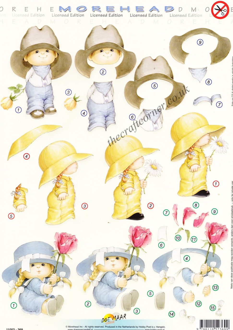 Morehead Children In Hats With Flowers 3d Die Cut