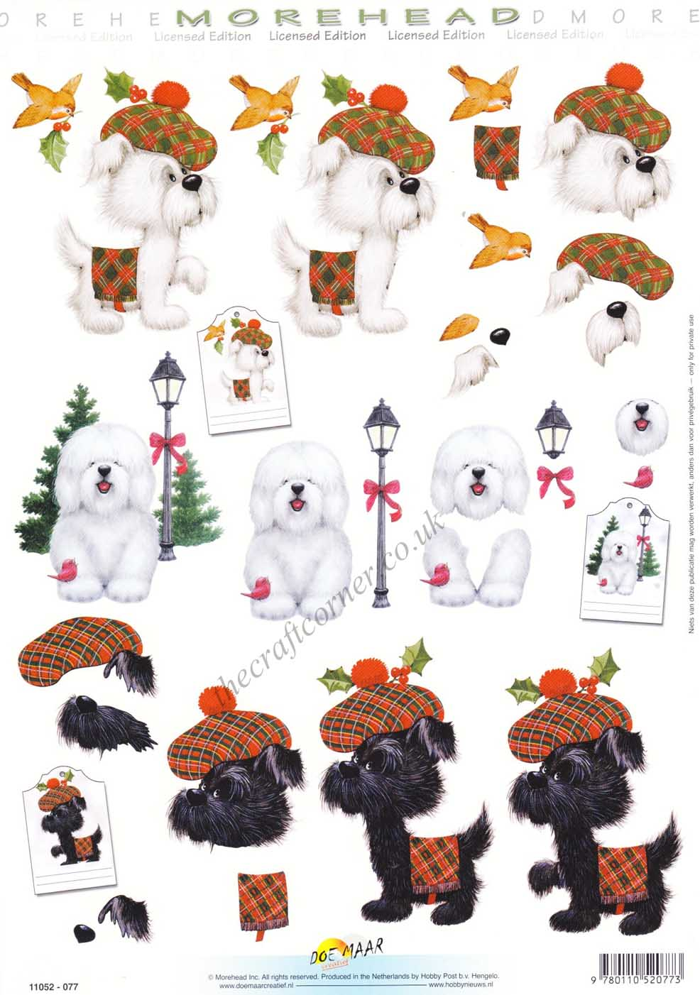 Morehead Christmas Dogs Dressed In Scottish Tartan 3d