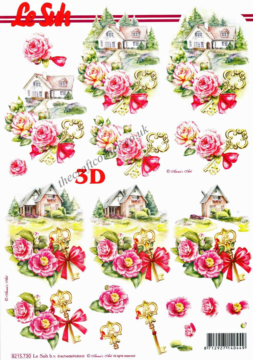 Préférence New Home With Roses & Key 3d Decoupage Sheet By Le Suh IG85