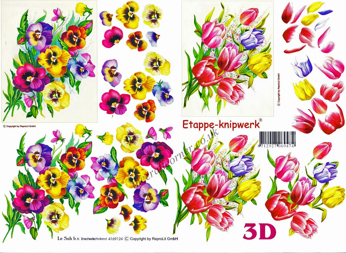 pansies and tulips 3d decoupage sheet from le suh