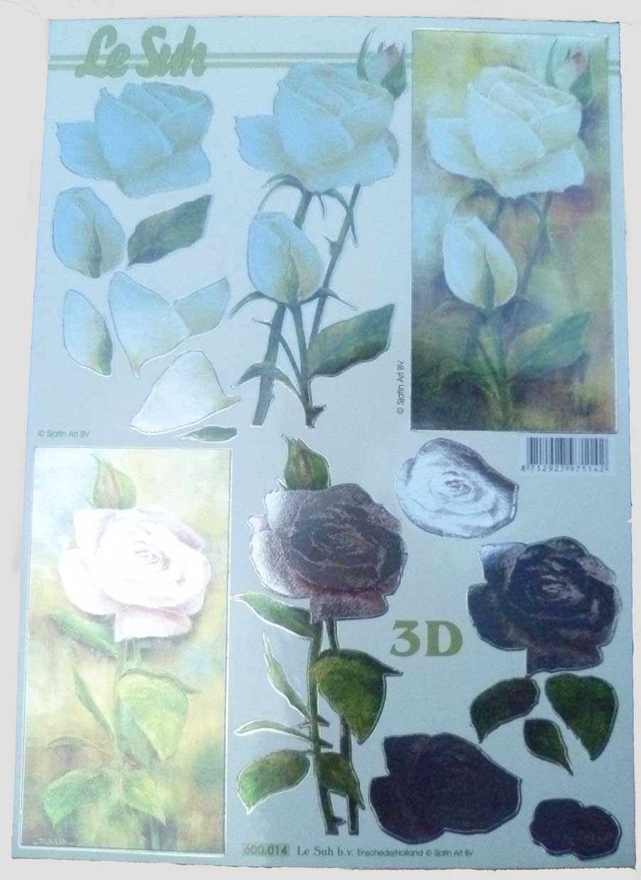Pink And Cream Rose Flowers With Foil Die Cut 3d Decoupage