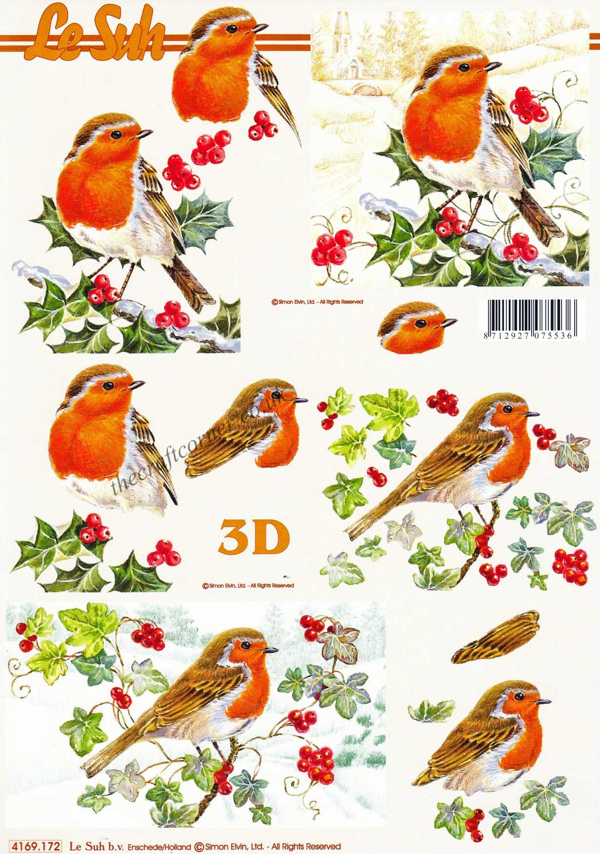 Assez Robins Sitting On Winter Branches Designs 3d Decoupage Sheet from  QB47