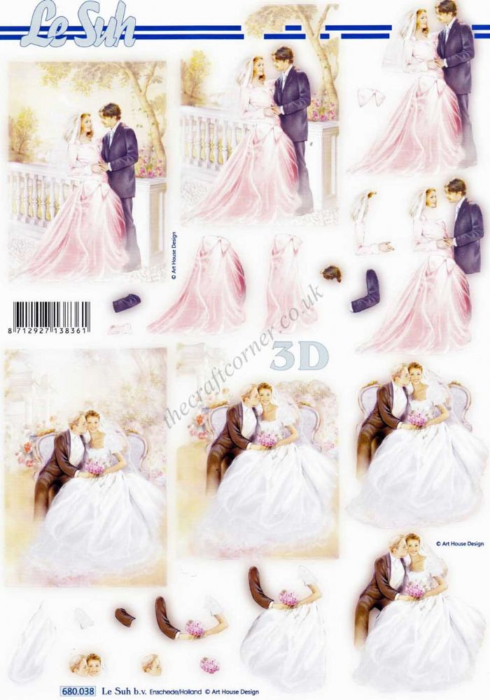 Wedding Couple Die Cut 3d Decoupage Sheet From Le Suh