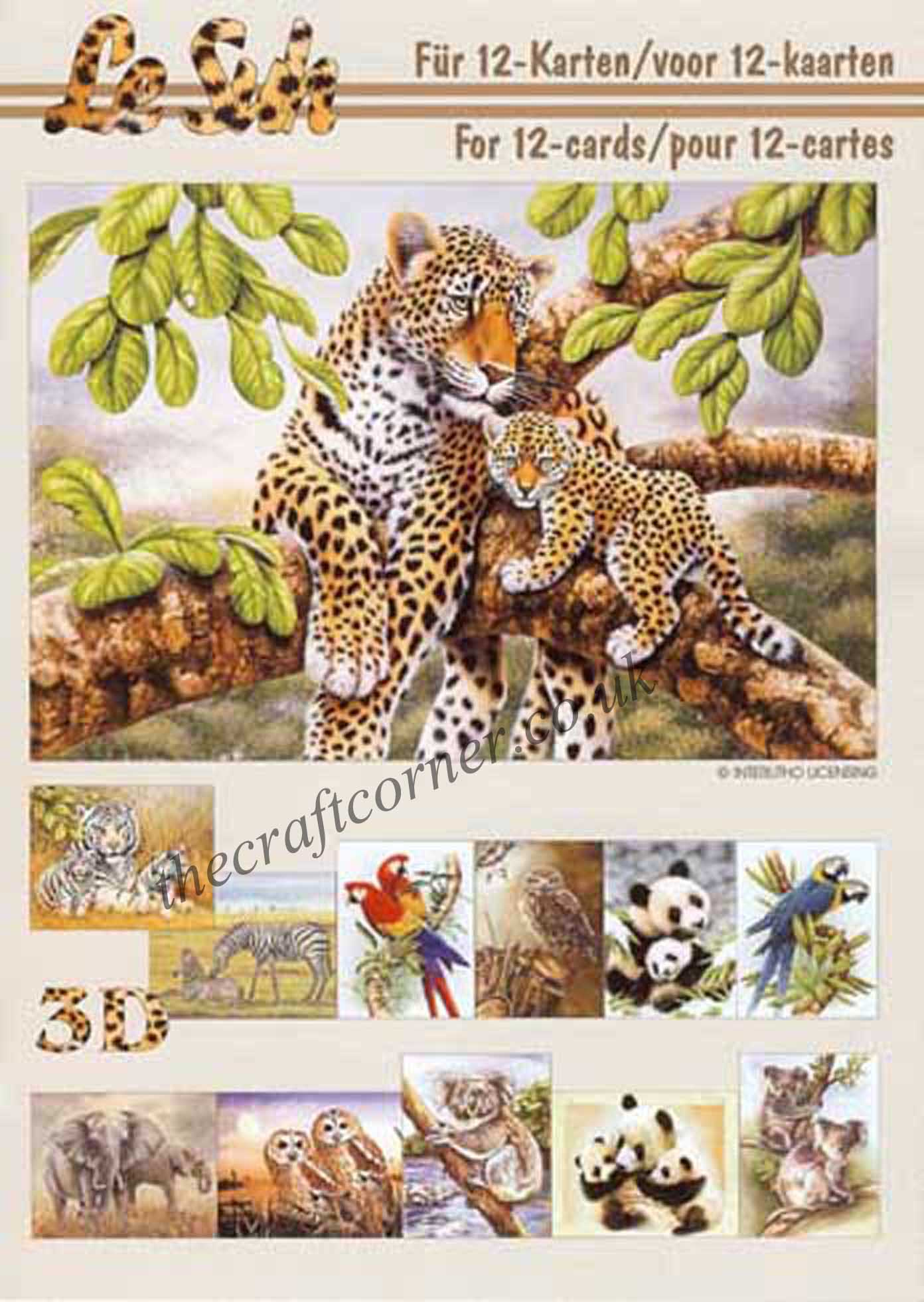 Assez Lion & Tiger Wild Animals 3d Decoupage Craft Sheet QB47
