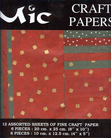 12 Sheets of High Quality Fine Christmas Red & Green Craft Paper