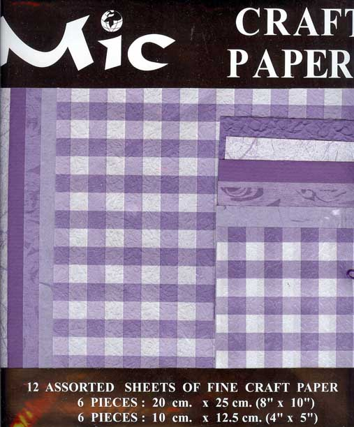 12 Sheets of High Quality Fine Patterned Lilac Craft Paper