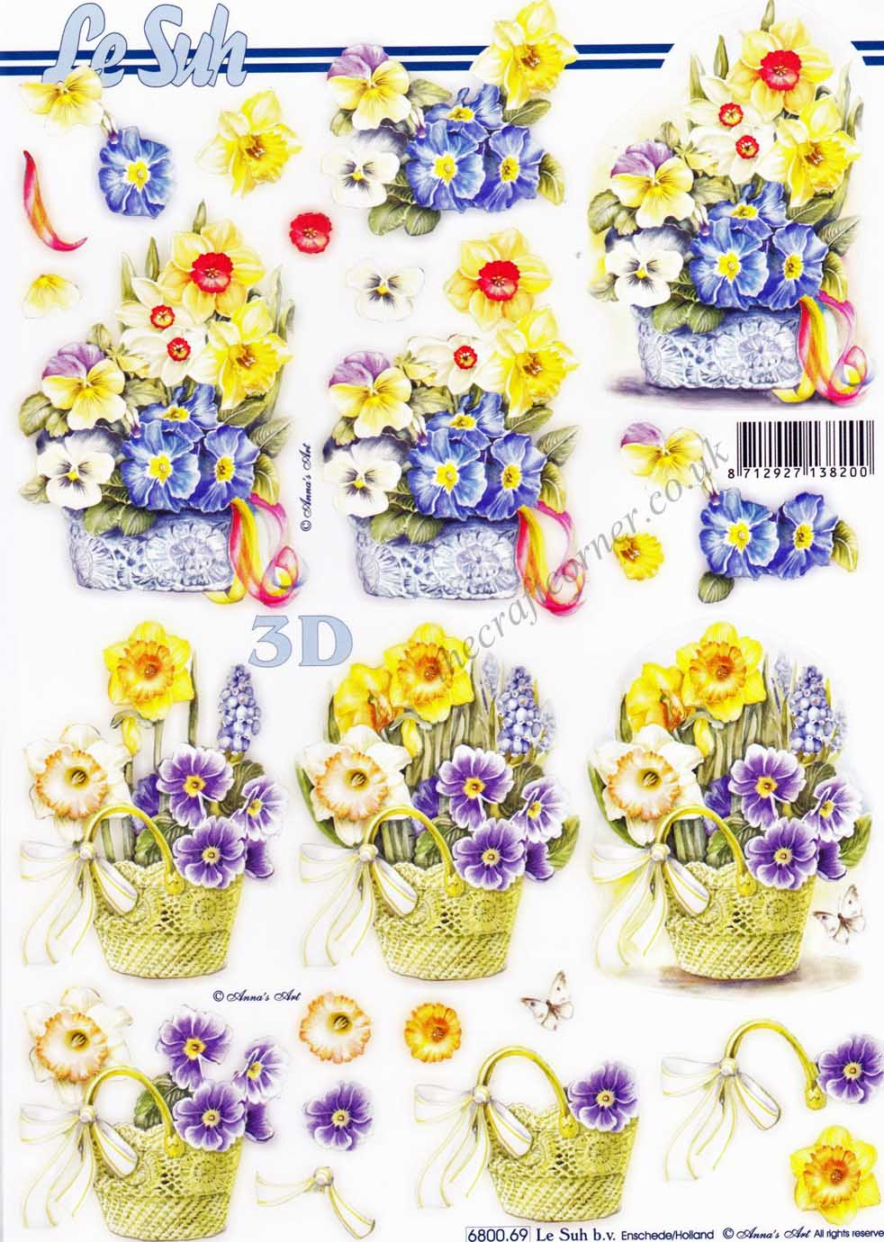 Basket Of Spring Flowers Die Cut 3d Decoupage Sheet From Le Suh