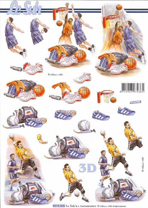 Basketball & American Football 3d Decoupage Sheet
