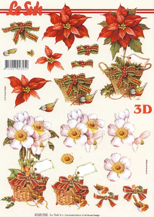 Christmas Flower Bouquets 3d Decoupage Sheet