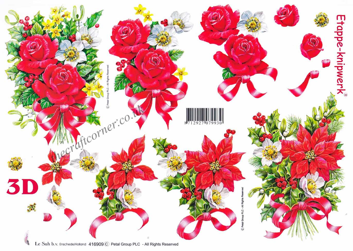 Christmas Flower Bouquets and Ribbon Designs 3d Decoupage Sheet