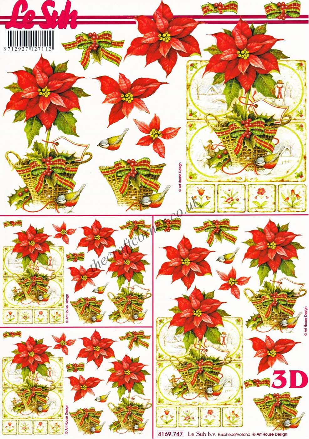 Christmas Poinsettia Flowers 3d Decoupage Sheet