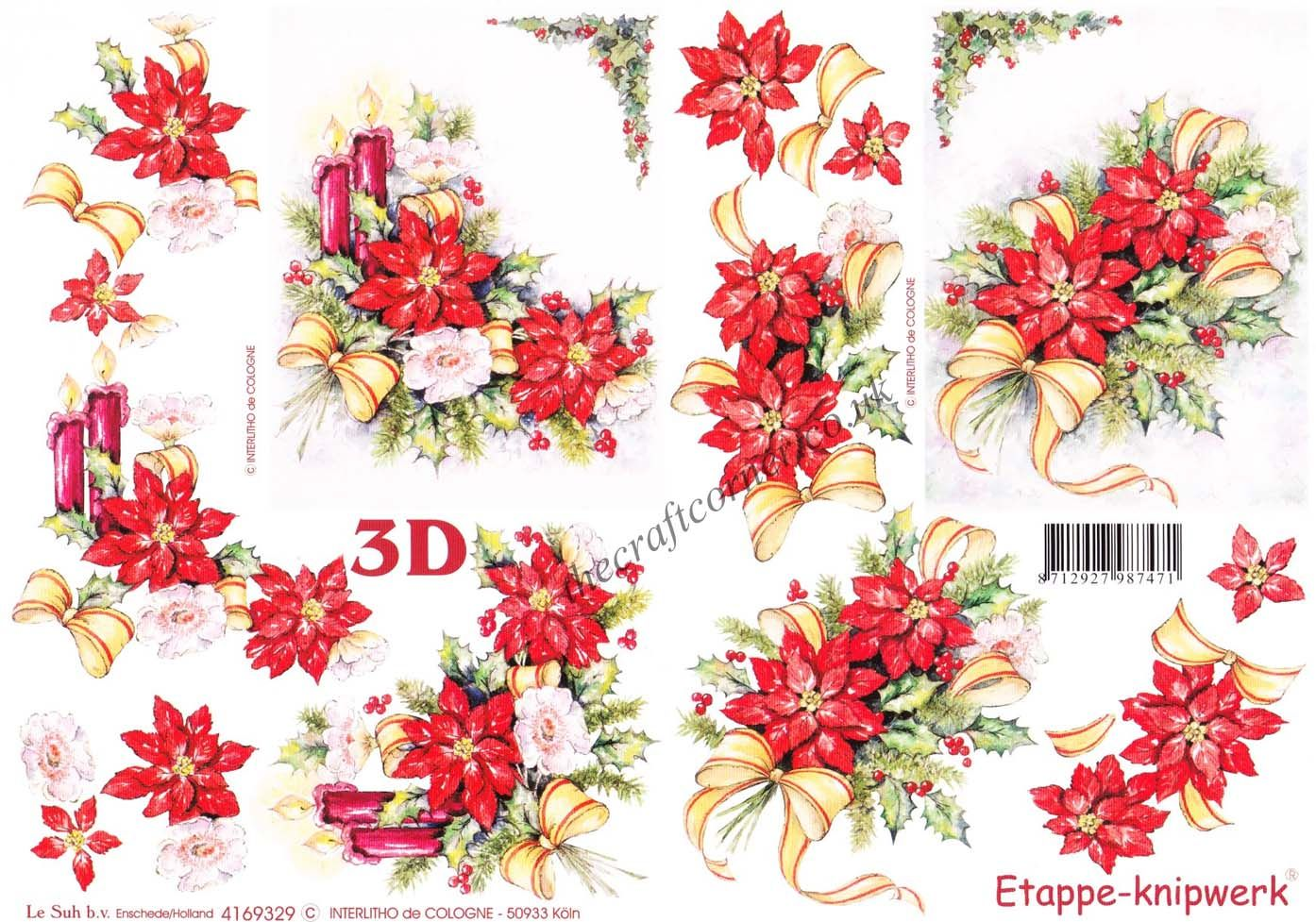 Christmas Poinsettia Flowers With Candles Amp Ribbons 3d