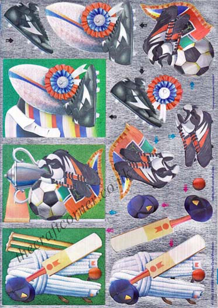 Cricket Football And Rugby Die Cut Dufex 3d Decoupage Sheet