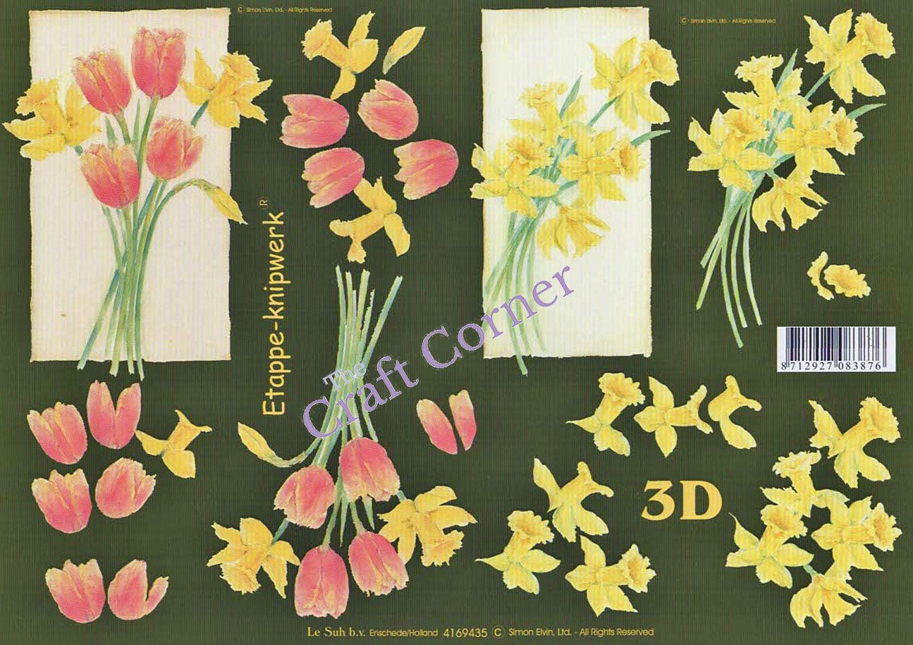 Daffodil Tulip Flowers 3d Decoupage Sheet