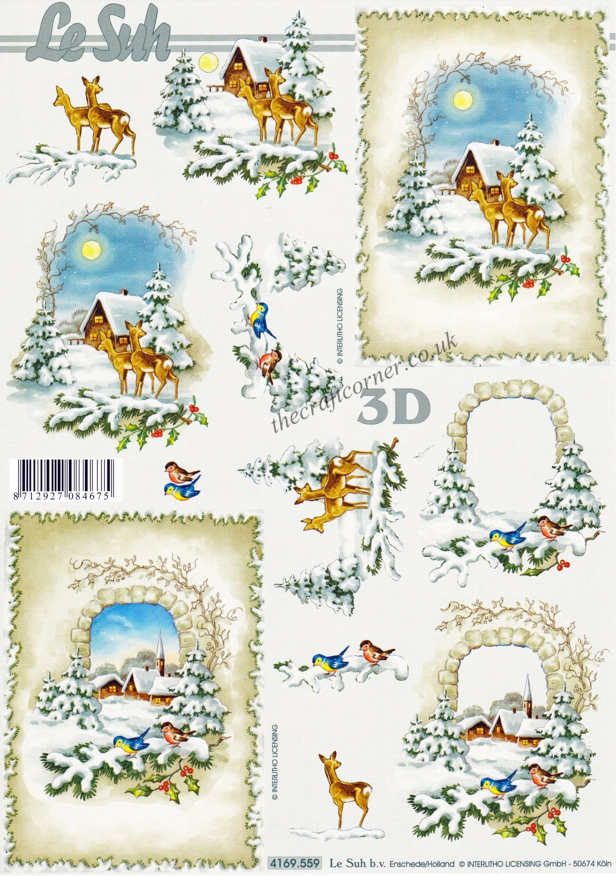 Deer Amp Birds In The Snow Winter Scenes 3d Decoupage Sheet