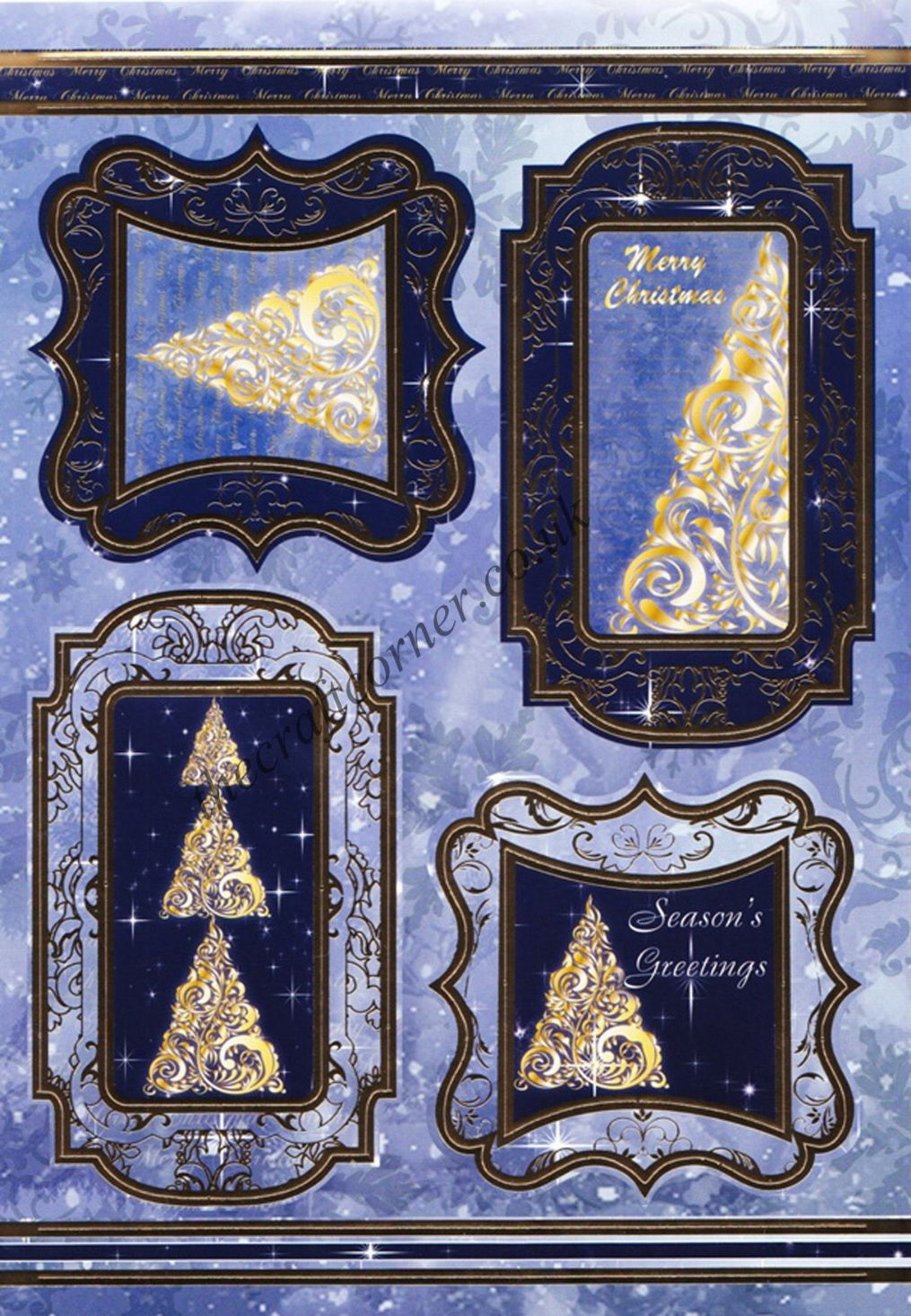 Die Cut Foil Christmas Tree Toppers And Backing Card From
