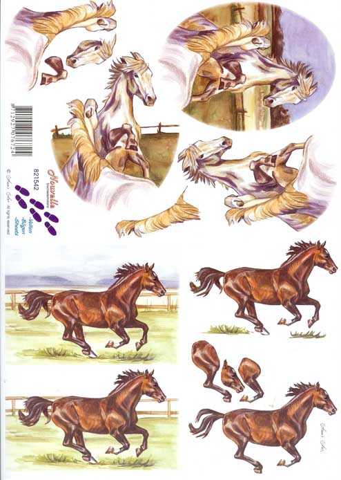 Horses 3 3d Decoupage Sheet From Le Suh