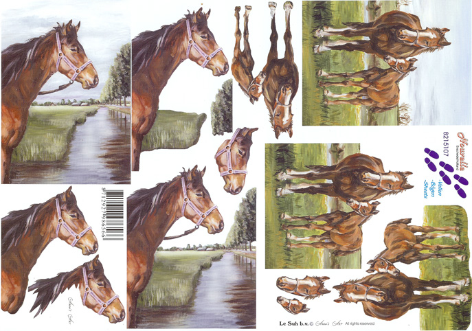 Horses By A River 3d Decoupage Sheet