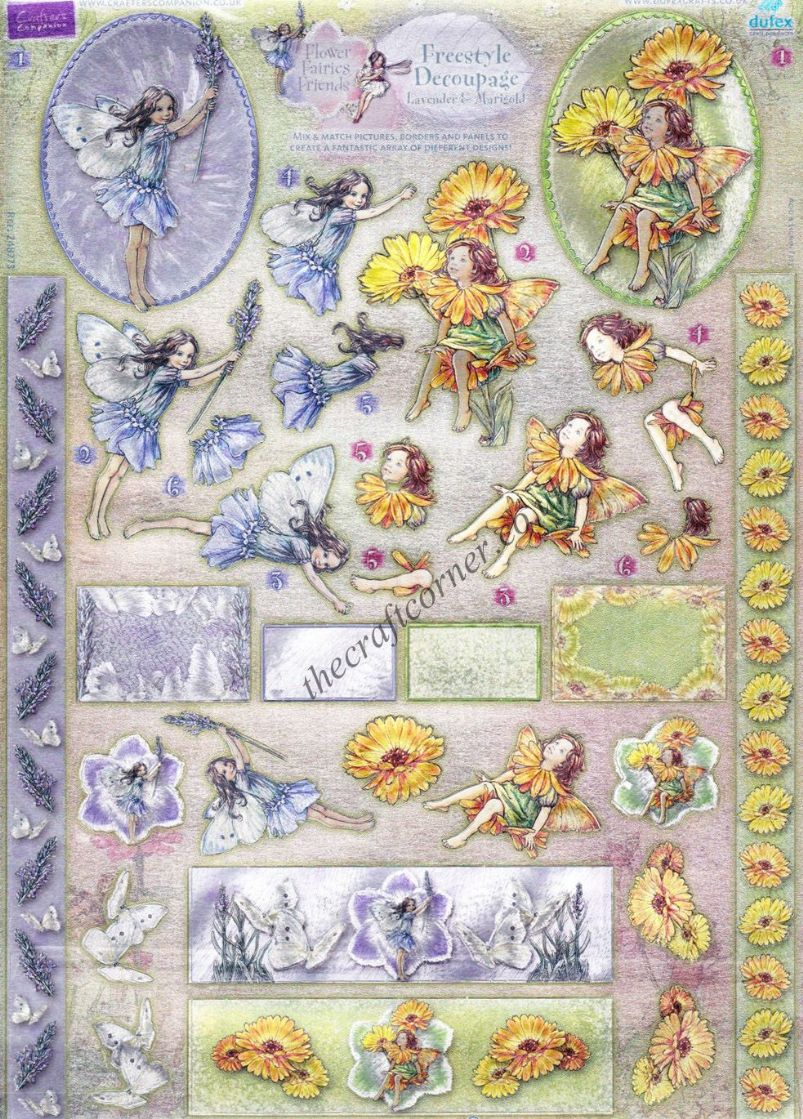 Lavender Amp Marigold Flower Fairy Freestyle 3d Die Cut