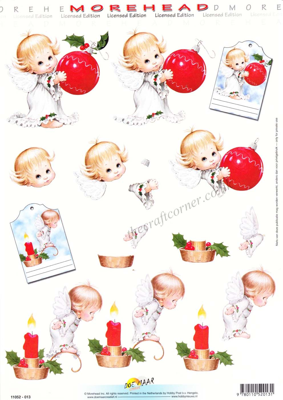 Morehead Christmas Angels with Bauble and Candle 3D Decoupage Sheet