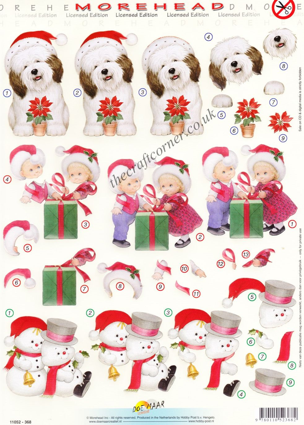 Morehead Christmas Dog With Poinsettia 3D Die Cut