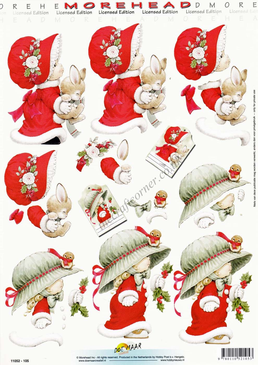 Morehead Girls In Christmas Bonnets 3d Decoupage Craft Sheet