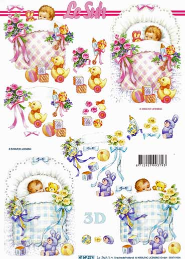 New Baby Girl Amp Boy 3d Decoupage Sheet From Le Suh