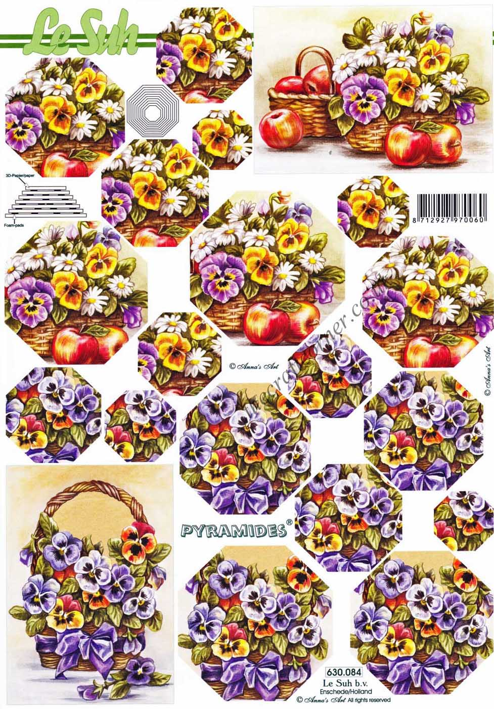 pansies 3d decoupage pyramides by le suh